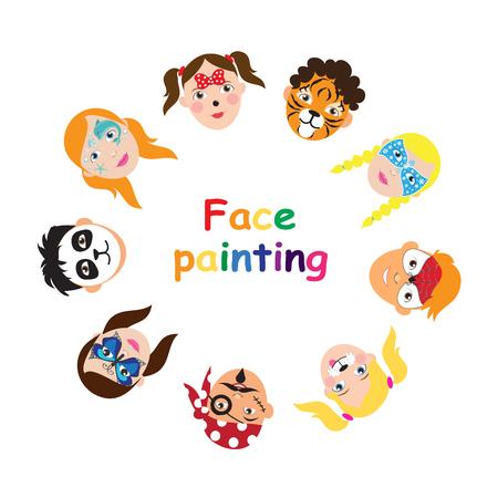 Pintura facial para colección infantil. conjunto de iconos de estilo plano de dibujos animados para banner, cartel. Fondo de vacaciones para niños. Ilustración de vector.