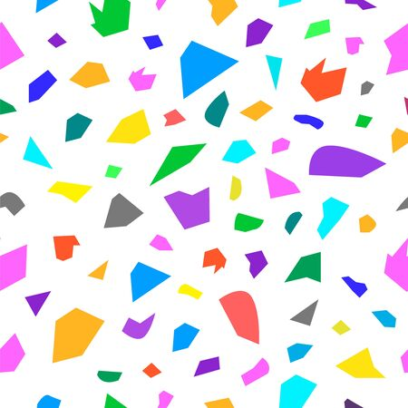 Terrazzo geometric texture. Abstract seamless pattern with colorful sprinkles scattered on white background. Creative vector illustration for backdrop, textile print, wrapping paper.