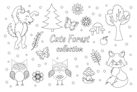 Vector set of cute forest elements sketch outline doodle style. Coloring book page for kids. Woodland animals fox, wolf, owls, butterflies, mushrooms, flowers and trees.