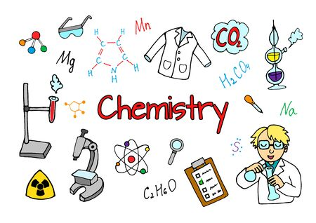 Chemistry cartoon icons set. Chalkboard with elements, formulas, atom, test-tube and laboratory equipment. education, medical. doodle style, vector illustration.