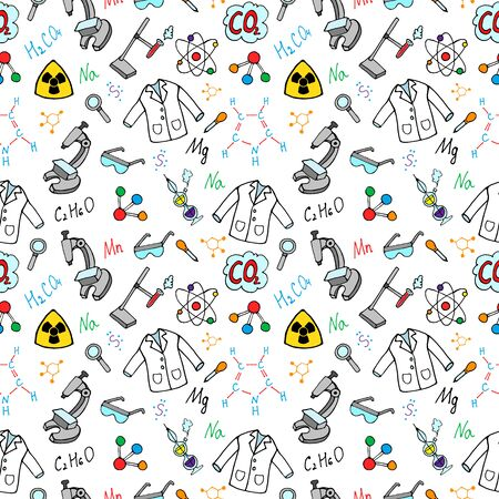 Chemistry cartoon seamless pattern. Chalkboard with elements, formulas, atom, test-tube and laboratory equipment. doodle style, vector illustration. Stock Illustratie