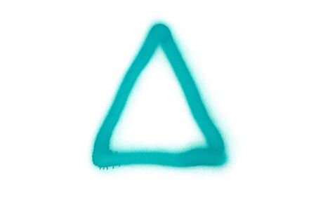Graffiti triangle sign sprayed on white isolated background. Geometric symbol painted in street art tag style in aquamarine color