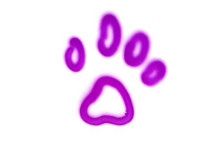 Graffiti pet's paw sign sprayed on white isolated background. Animal symbol painted in street art tag style in violet color