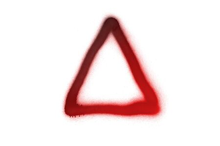Graffiti triangle sign sprayed on white isolated background. Geometric symbol painted in street art tag style in trendy colors