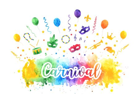 Mardi Gras carnival traditional symbols collection, carnival masks, party decorations. Watercolor splash silhouettes elements for cards, banner. Vector illustration isolated on white background.