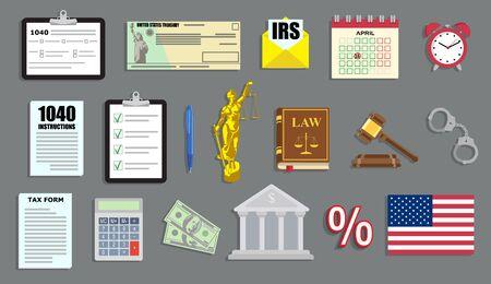 Ilustración de vector de período fiscal con documentos del IRS y elementos de juicio en estilo plano Ilustración de vector