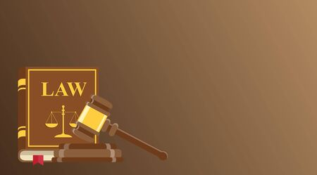 Business card for lawyer or judicial worker. judge hammer and law book on brown background. Conceptual banner. Flat vector illustration