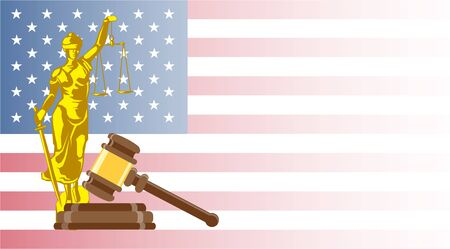 Business card for lawyer or judicial worker. Statue of justice with judge hammer and law book on US flag background. Conceptual banner. Flat vector illustration