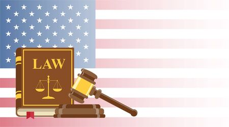Business card for lawyer or judicial worker. judge hammer and law book on US flag background. Conceptual banner. Flat vector illustration