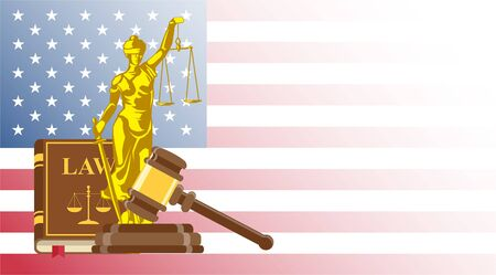 Business card for lawyer or judicial worker. Statue of justice with judge hammer and law book on US flag background Illustration
