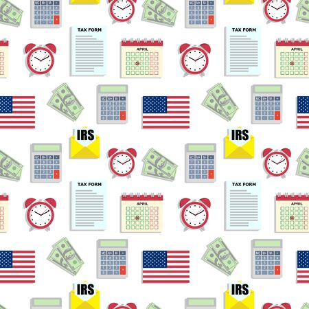 Financial accounting seamless pattern with flat icons. Bookkeeping background, tax optimization.