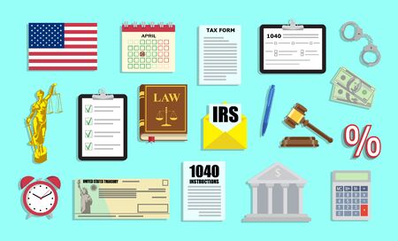 Tax period set with IRS documents and judgement arts in vector flat style Ilustração