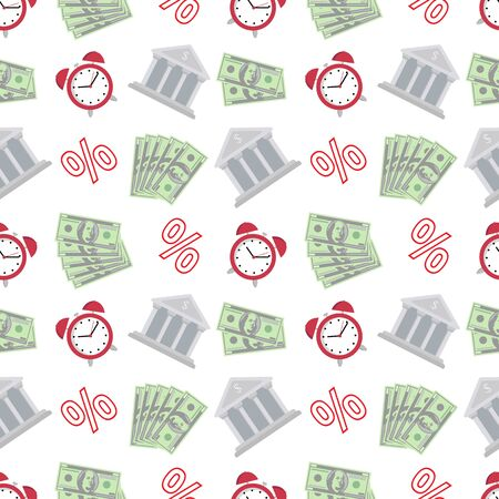 Financial accounting seamless pattern with flat icons. Bookkeeping background, tax optimization, loan, payroll, real estate crediting.