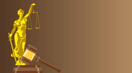 Business card for a lawyer or a judicial officer. Statue of justice with judge gavel on brown background