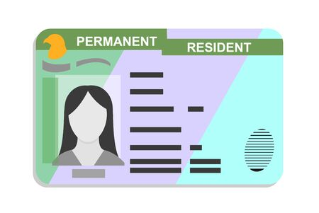 American green card, Permanent Residence Card flat icon, vector illustration
