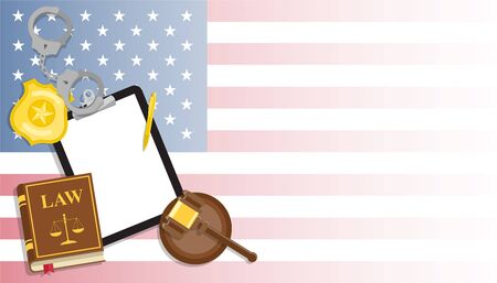 Arrest warrant on black tablet lies with police handcuffs and legal book, gavel and golden badge on United States flag background