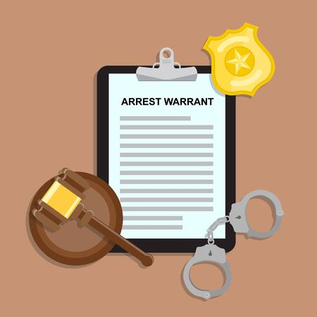 Arrest warrant on black tablet lies with police handcuffs, gavel and golden badge on wooden table. Vector flat lay illustration