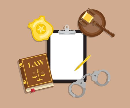 Arrest warrant on black tablet lies with police handcuffs and legal book, gavel and golden badge on wooden table. Vector flat lay illustration