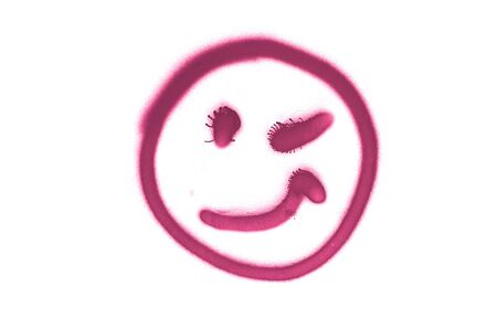 Graffiti smile sign sprayed on white isolated background. Symbol painted in street art tag style in purple color