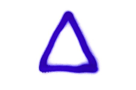 Graffiti triangle sign sprayed on white isolated background. Geometric symbol painted in street art tag style in blue color