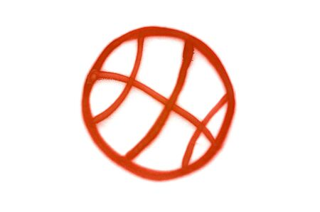 Graffiti basketball sign sprayed on white isolated background. Sport symbol painted in street art tag style in crimson red color