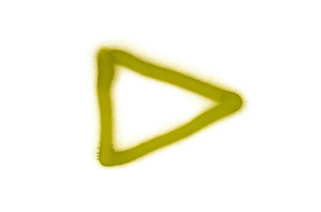 Graffiti play sign sprayed on white isolated background. Symbol painted in street art tag style in yellow color