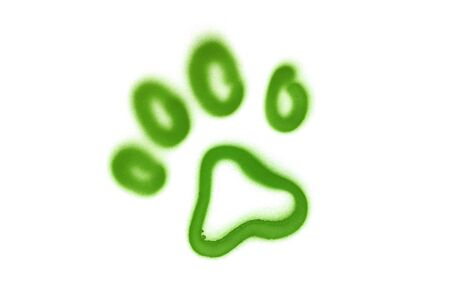 Graffiti pet's paw sign sprayed on white isolated background. Animal symbol painted in street art tag style in light green color