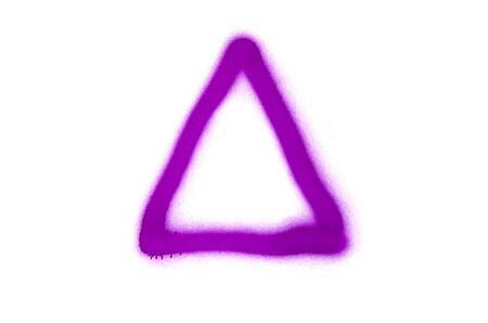 Graffiti triangle sign sprayed on white isolated background. Geometric symbol painted in street art tag style in violet color Stock Photo
