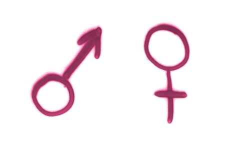 Graffiti gender sign sprayed on white isolated background. Male and female symbols painted in street art tag style in purple color Stockfoto