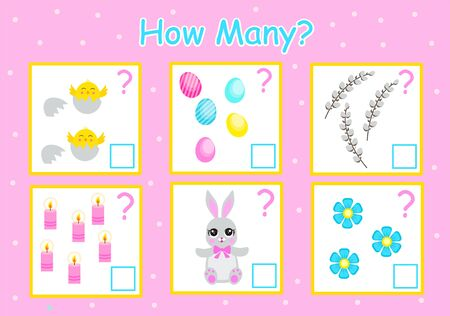 How many games for counting, Easter elements for children, educational mathematical tasks for the development of logical thinking, preschool worksheet, count and write down the result, vector 일러스트