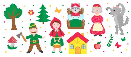 Cute Little Red Riding Hood set objects. Collection design element with pretty girl and her grandmother, wolf, woodman and trees. Kids baby clip art funny smiling character. Vector iillustration