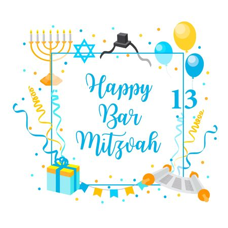 Bar Mitzvah congratulation or invitation card. jewish tradition boys birthday. vector Vektorové ilustrace