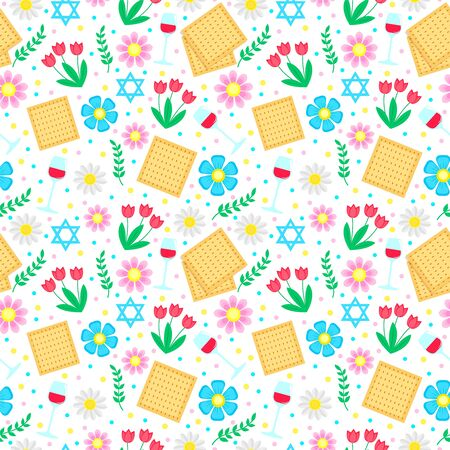 Jewish holiday Passover seamless pattern with with floral decoration, matzo. vector illustration