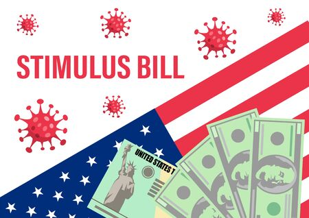 Individual checks and dollars on american flag. Financial incentive bill. Coronavirus Covid-19 concept. vector