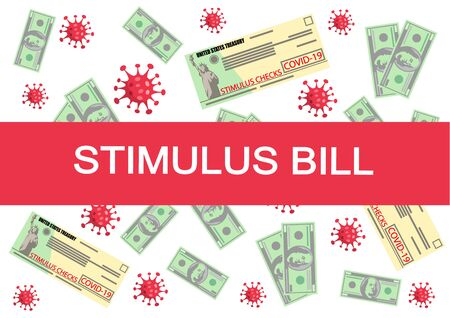 Individual checks and dollars on american flag. Financial incentive bill. Coronavirus Covid-19 concept. vector illustration 일러스트