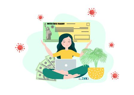 Young woman recieve a stimulus bill check during coronavirus quarantine period in USA. Stimulus relief program vector 일러스트