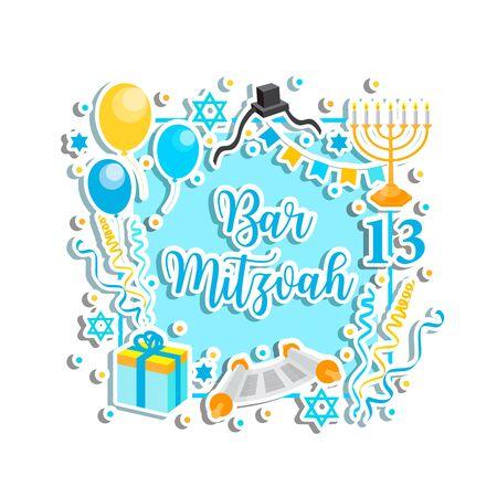 Bar Mitzvah congratulation or invitation card. jewish holiday 13th birthday boy vector Vektorové ilustrace