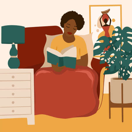 African american girl reading a book. Feminine Daily life and everyday routine scene by young woman in home interior with homeplants