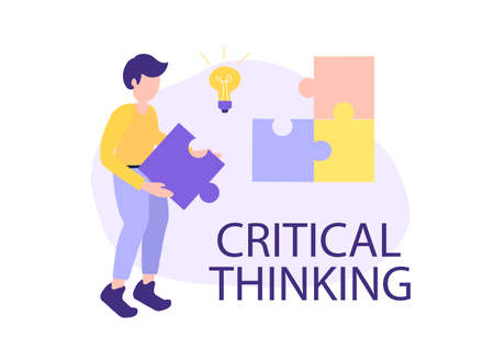 critical thinking concept, search for ideas, vector
