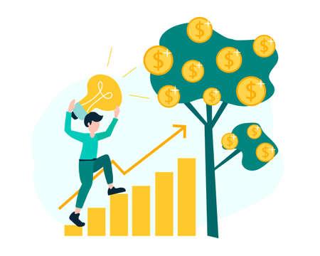 career growth, the path to success. creative idea building money profith. vector illustration Illustration