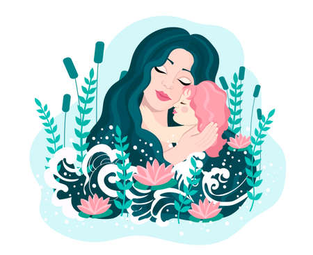 Mom holds her daughter in her arms, hugs her child. Happy Mothers Day concept. Vector