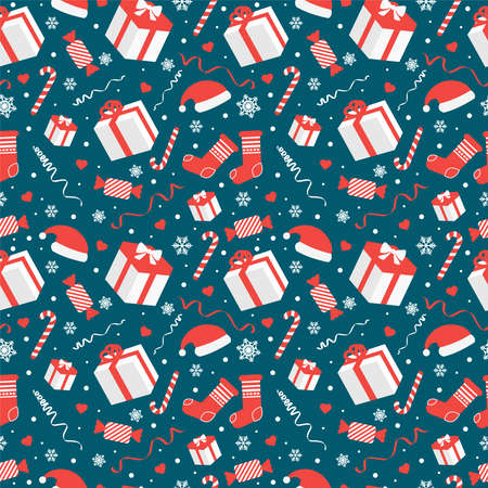 seamless pattern with christmas candy cane caramel and snowflakes, endless background, repeating texture Illustration