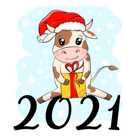 2021 Happy New Year card. Cute Cartoon Bull in Santa hat and gift