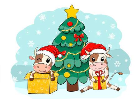 2021 Happy New Year card. Cute Cartoon Bulls in Santa hat and gifts. vector illustration