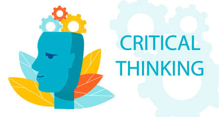 Symbol of Critical Thinking. Profile of the head with gear mechanism. metaphor of the work of the brain, thought process Vecteurs