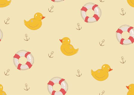 swiming: Seamless pattern with rubber duck and ringbuoy