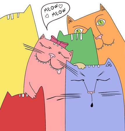 funny cats: Cute funny cats in love Illustration