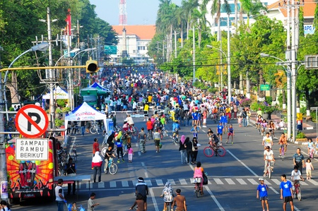 pollution free: car free day in Semarang City, Indonesia used for biking, jogging and relaxing.