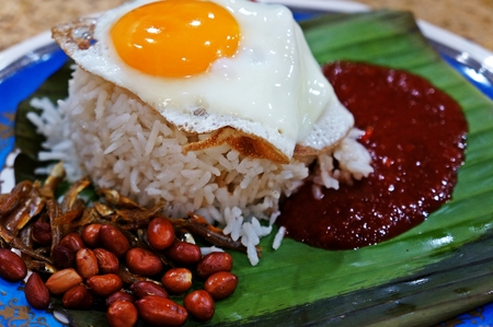lemak: Nasi Lemak Egg Stock Photo