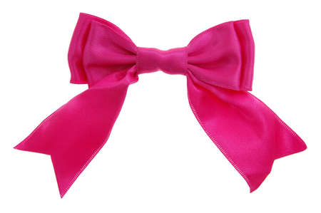 pink double loops bow and ribbon isolated on white background